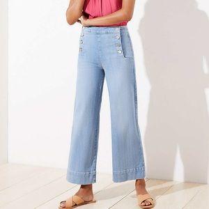 Loft, Sailor Wide Leg Crop Jeans, Lght Indigo Wash